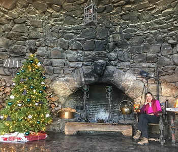 Holiday Hearthside at Hermit. Back from a long days hike taking comfort.Carolyn and the moose.