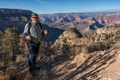 The last time I hiked into the Grand Canyon was about 40 years ago, when I descended the Hermit Trail in December. The trip then was to hike the Tonto Plauteau and arrive at Phantom Ranch on Christmas Eve, then onto the Ottoman Amphitheater behind Zoraster Temple. LONG cold nights. It is December again, and I am once more heading down the Hermit Trail, albeit for a shorter destination to Santa Maria Spring. This trail was (I believe) the original tourist trail into the canyon and is a marvel of trail engineering, designed to accomodate mule traffic, which presumably was the preferred method of attack.