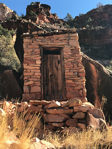 Not exactly a brick sh*thouse, but close. This outhouse was slightly off trail and is a remnant of early tourist facilities off the Hermit Trail on the south rim of the Grand Canyon. (This facility is no longer public, and we just barely noticed it below the trail.) It is a great old trail worth the effort.