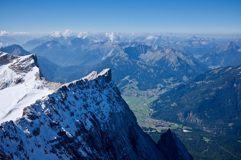From Zugspitze over the Garmisch valley