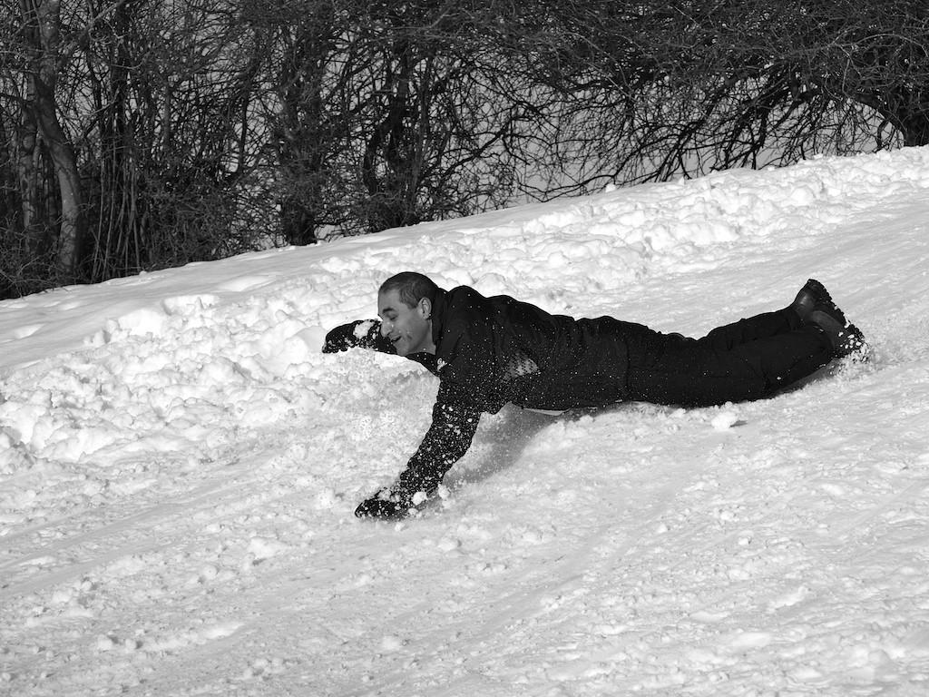 Body boarding on snow
