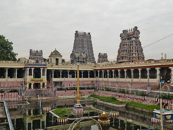 Temple tank and gopurams