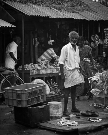 The fish seller (B&W)