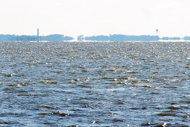Currituck Beach Lighthouse on left.
