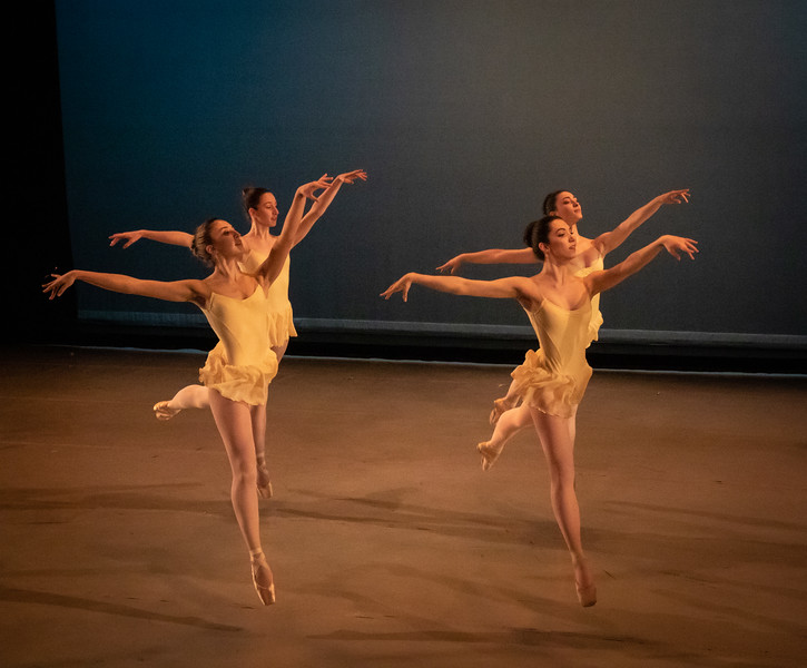 back row is Gwen Vandenhoeck and Bianca Carnovale. Front row is Julia Isaacman and Lucia Betelu, In Excelsis, Choreography by Silas Farley