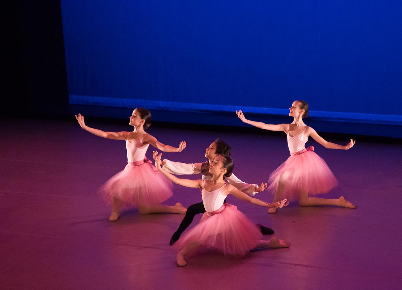 Center: Sophia Massa, Tristan Massa, Left: Lara Moussa, Right: Sparrow Gilligan, Barcarolle, Ballet Academy East, February 2016