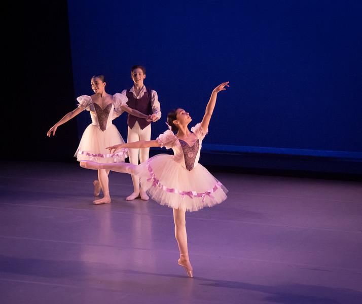 Front: Malena Bhonslay, Back: Yanna Nikitas, Finn Duggan, Mozart's Little Nothings, Ballet Academy East, February 2016