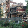 July 2009 - steel supporting 1610 and 1618 Locust Street facades in place, demolition of Locust Club property continues