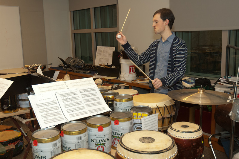 "Ted Babcock in the Curtis percussion studio and musical instruments for the January 18, 2013 ""Cage: Beyond Silence"" performance."