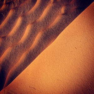The two faces of the crest of a dune in the Moreib area | Liwa desert - UAE | January 2014