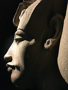 The enigmatic profile of the statue of the pharaoh Akhenaten, also known as Amenhotep IV at the Alexandria National Museum | Alexandria - Egypt | October 2016
