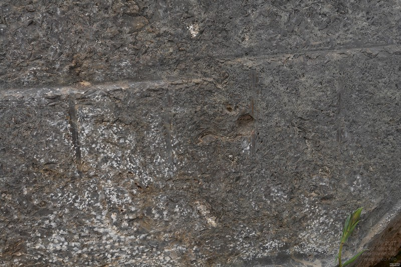 … as those vertical marks look like molten, like it happens when applying acid on this limestone.