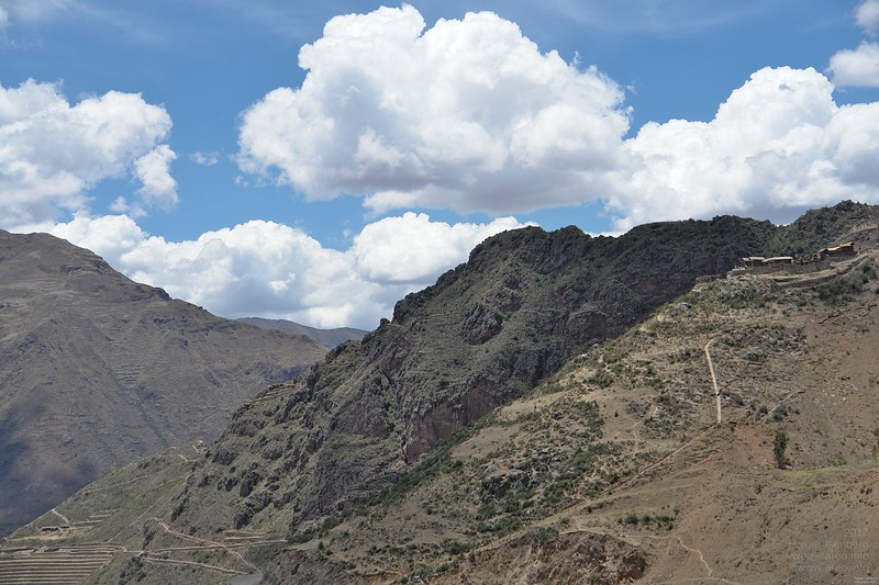 Pisac. There are 3 large Inca cities known. This is one of those. But you cannot see it yet as it is hidden behind the mountain on the right. Ollantaytambo and Macchu Picchu are the others.