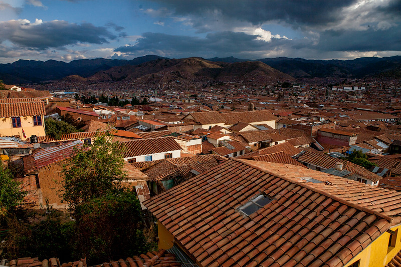 Cusco city spread out to the hills, Peru