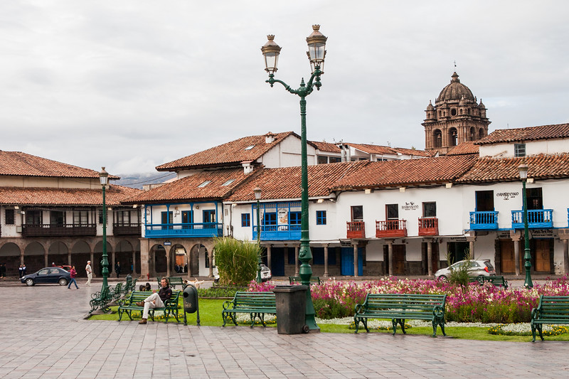 Shops in old buildings at Plaza de Armas, Cusco, Peru