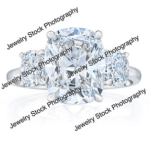 3 Stone Cushion Cut Ring Front