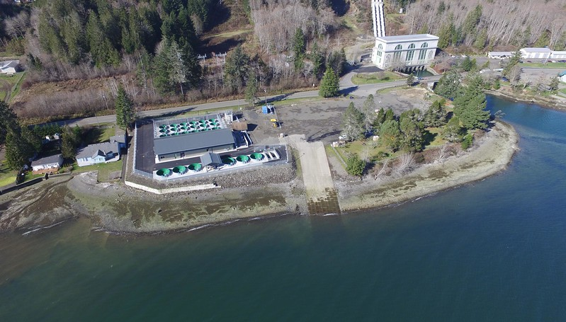 Tacoma Power's Saltwater Park Sockeye Hatchery on Hood Canal in Mason County, Wash. The Cushman Powerhouse No. 2 is on the right. Both are part of the Cushman Hydro Project.