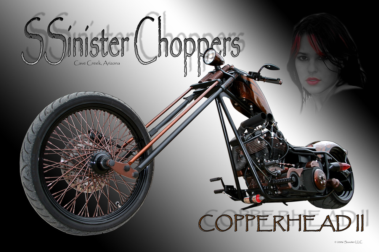 """The Copperhead II"" by<br /> SSinister Choppers, Cave Creek, Az"