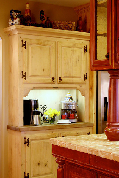 The hutch, with it's tambour door, makes a great beverage bar.