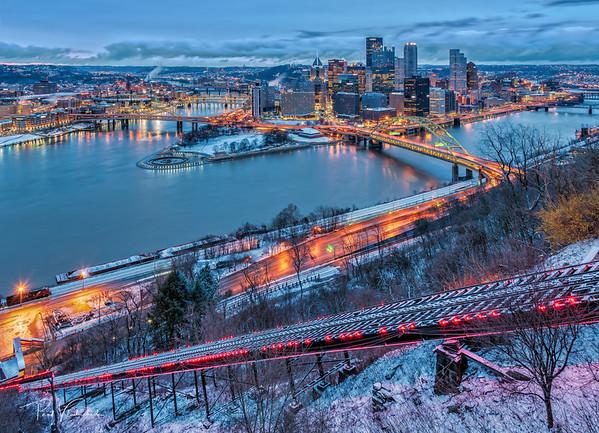 Pittsburgh Sunrise. Cloudy. Gray.