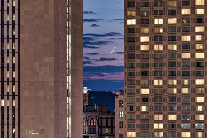 Sliver Moon Setting - Pittsburgh Pennsylvania