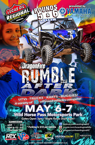 Lucas Oil Arizona Regional Off Road Series May 6-7 2016 promotional series flier