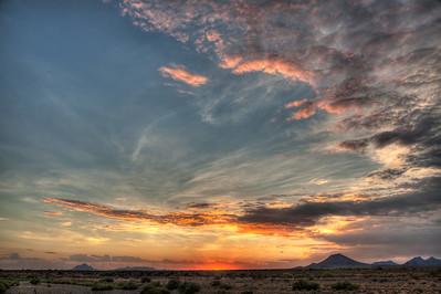 High Clouds and Orange Sunset, Arizona Desert