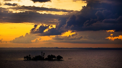 Beautiful Ocean Sunset and Clouds, Belize