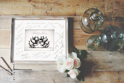 Kissing Pinecones Wedding Guest Book Signature Frame