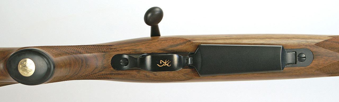 Bottom view showing the gold inlay in the custom Ebony grip cap.