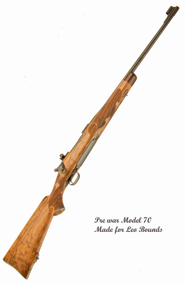 This Winchester Mod. 70 was stocked in a fine piece of English walnut and checkered 24 lines per inch with ribbons in a fleur-de-lis pattern. The grip is fitted with a skeleton grip cap and checkered 30 lines per inch. The steel butt plate is engraved and the stock is finished off in a hand rubbed oil finish.