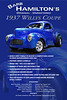 This is the original, unrestored '37 Willys Coupe that was/is driven, worked on, and owned by Barb Hamilton.  She was inducted into the International Drag Racing Hall of Fame in 1992.