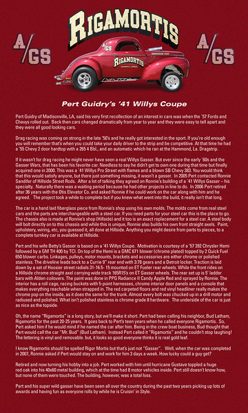 This is an additional card that tells the whole story of this amazing '41 Willys Gasser owned by Pert Guidry out of Louisiana!