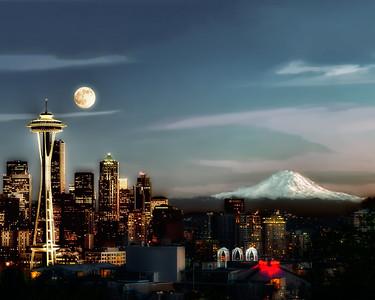 #559 Full Moon over Seattle