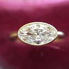 1.17ct Antique Moval Cut Diamond Bezel Ring, GIA E SI1 11