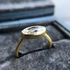 1.17ct Antique Moval Cut Diamond Bezel Ring, GIA E SI1 10