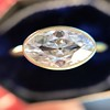1.17ct Antique Moval Cut Diamond Bezel Ring, GIA E SI1 12