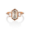 1.96ctw Fancy Golden Brown Hexagon Diamond and Baguette Trilogy Ring 0