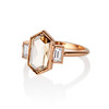 1.96ctw Fancy Golden Brown Hexagon Diamond and Baguette Trilogy Ring 1