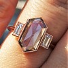 1.96ctw Fancy Golden Brown Hexagon Diamond and Baguette Trilogy Ring 5