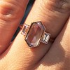 1.96ctw Fancy Golden Brown Hexagon Diamond and Baguette Trilogy Ring 22