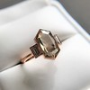 1.96ctw Fancy Golden Brown Hexagon Diamond and Baguette Trilogy Ring 13