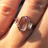 1.96ctw Fancy Golden Brown Hexagon Diamond and Baguette Trilogy Ring 23