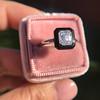 1.19ct Vintage Emerald Cut Diamond Onyx Ring, GIA E VS2 53