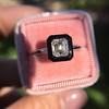 1.19ct Vintage Emerald Cut Diamond Onyx Ring, GIA E VS2 34