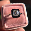 1.19ct Vintage Emerald Cut Diamond Onyx Ring, GIA E VS2 49