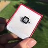 1.19ct Vintage Emerald Cut Diamond Onyx Ring, GIA E VS2 15