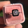 1.19ct Vintage Emerald Cut Diamond Onyx Ring, GIA E VS2 48
