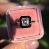 1.19ct Vintage Emerald Cut Diamond Onyx Ring, GIA E VS2 37