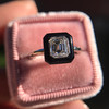 1.19ct Vintage Emerald Cut Diamond Onyx Ring, GIA E VS2 45